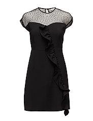 Ruffle plumeti dress - BLACK