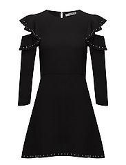 Ruffles cold-shoulder dress - BLACK