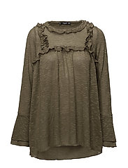 Ruffled detail t-shirt - BEIGE - KHAKI
