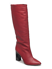 Leather high-leg boots - RED