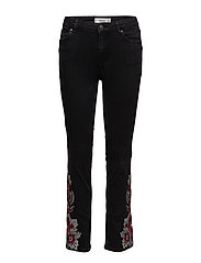 Embroidered girlfriend jeans - OPEN GREY