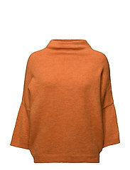 Textured knit sweater - ORANGE