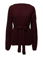 Bow knit sweater - DARK RED