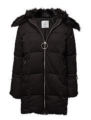 Faux-fur quilted coat - BLACK