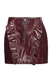 Ruffled vinyl skirt - DARK RED