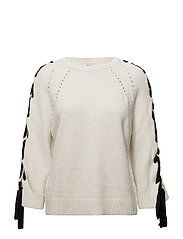 Braided cord sweater - LIGHT BEIGE