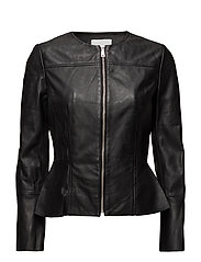 Flared sleeve leather jacket - BLACK