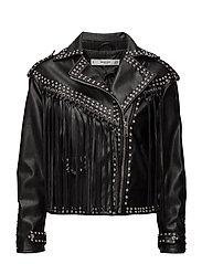 Crystal-detail biker jacket - BLACK
