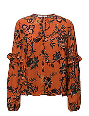 Floral print blouse - ORANGE