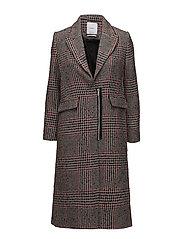 Checkered wool-blend coat - BLACK