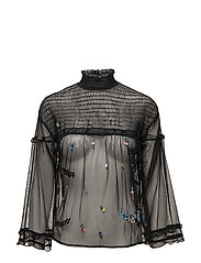 Embroidered tulle blouse - BLACK