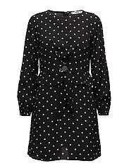 Printed bow dress - BLACK