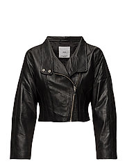 Leather aviator jacket - BLACK