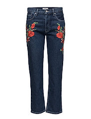 Embroidered slim jeans - OPEN BLUE