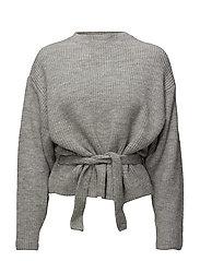 Knit belt sweater - GREY
