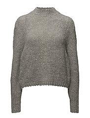 High collar wool sweater - GREY
