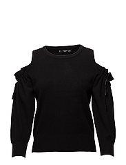 Cold-shoulder sweater - BLACK