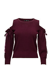 Cold-shoulder sweater - DARK RED