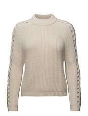 Open work-detail sweater - LIGHT BEIGE