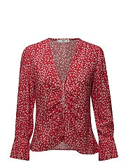 Bow printed blouse - RED