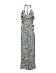 Ruffled floral jumpsuit - TURQUOISE - AQUA