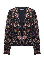 Floral embroidered jacket - NAVY