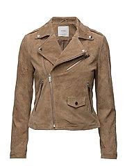 Zip leather jacket - MEDIUM BROWN
