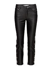 Side eyelets trousers - BLACK