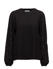 Studded sweatshirt - BLACK