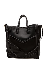 Contrast seam shopper bag - BLACK