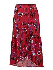 Ruffled wrap skirt - DARK RED