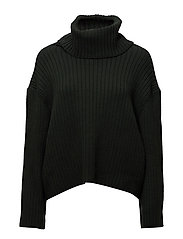 Turtleneck ribbed sweater - DARK GREEN