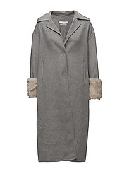 Contrasted cuffs handmade coat - GREY