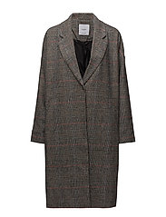 Checkered overcoat - BLACK