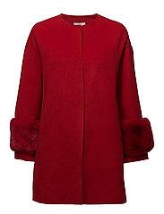 Faux-fur appliqu handmade coat - RED