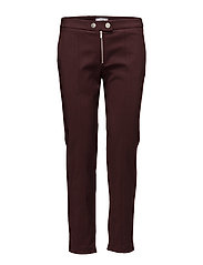 Zipped straight trousers - DARK RED