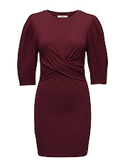 Draped detail dress - DARK RED
