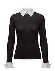 Contrast neck blouse - DARK GREY