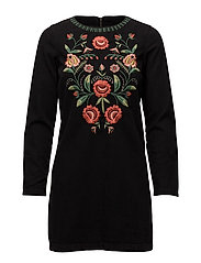Flower embroidered denim dress - OPEN GREY