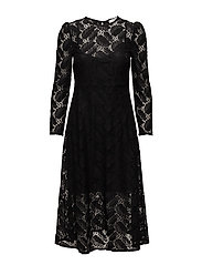 Floral lace dress - BLACK