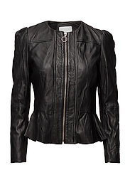 Puffed leather jacket - BLACK