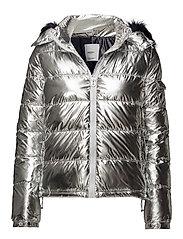 Faux fur hood coat - SILVER