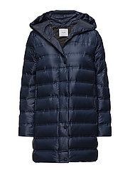 Feather down hooded coat - MEDIUM BLUE
