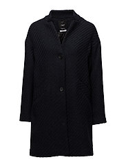 Pocketed wool coat - NAVY