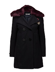 Mango - Faux Fur Neck Appliqus Coat