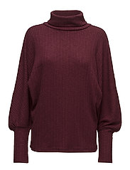 Turtleneck ribbed sweater - DARK RED