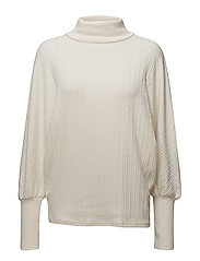 Turtleneck ribbed sweater - LIGHT BEIGE