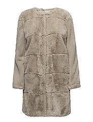 Faux fur coat - LT PASTEL GREY