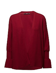 Ribbed detail cardigan - RED
