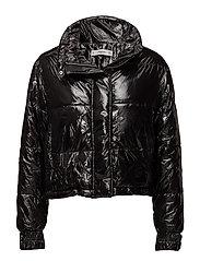 Water-repellent quilted coat - BLACK